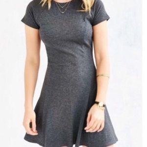 BDG Dark Grey Ribbed Fit & Flare Circle Dress